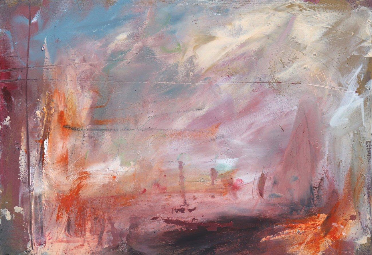 ArtStory BethHolmes  Quiet Days 22cm x 15.5cm ACRYLIC OIL PASTEL CHARCOAL ON WATERCOLOUR BOARD web