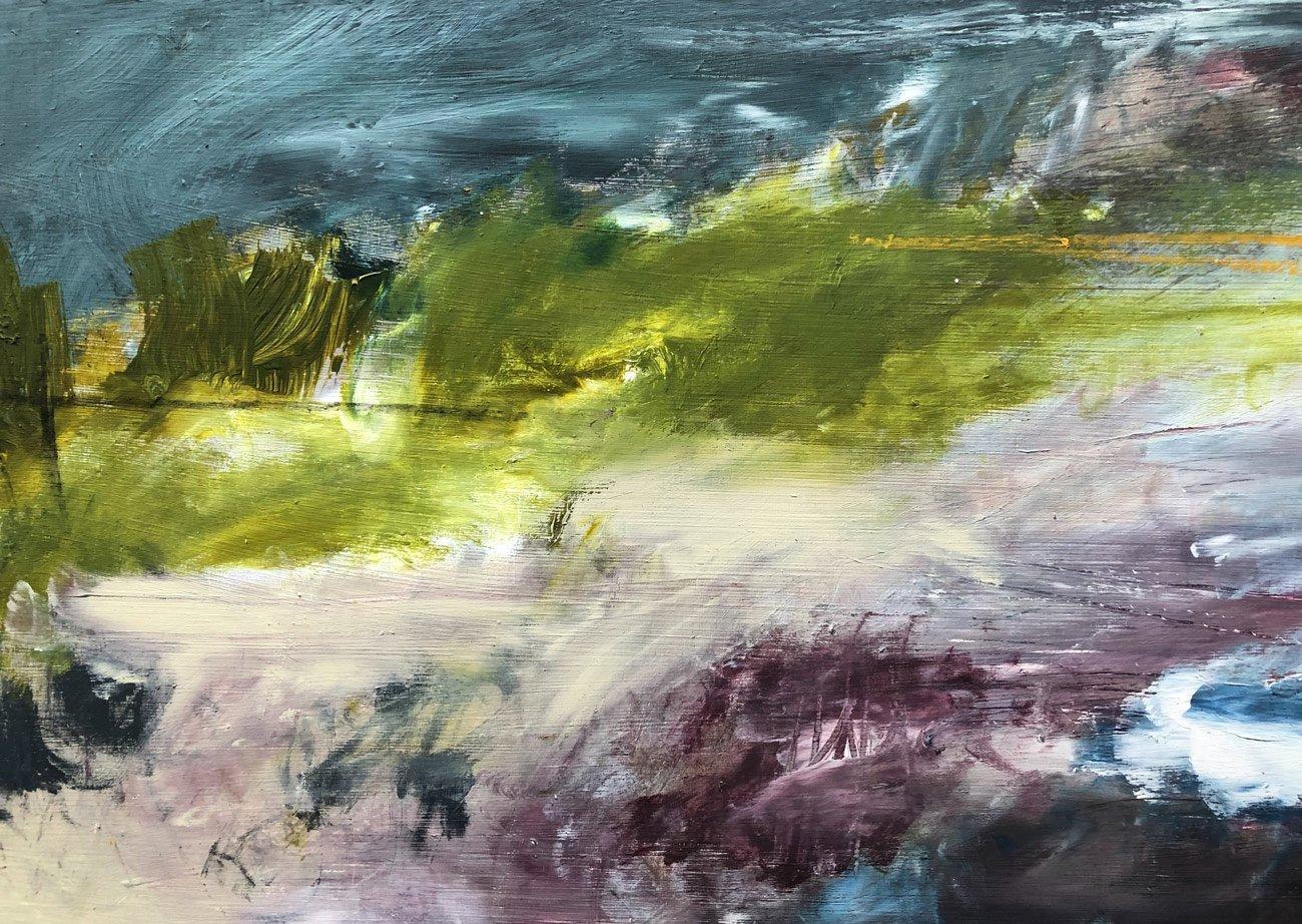 Bethany Holmes - Dusk over the Quay (2019), Mixed Media on Board, 45m x 25cm
