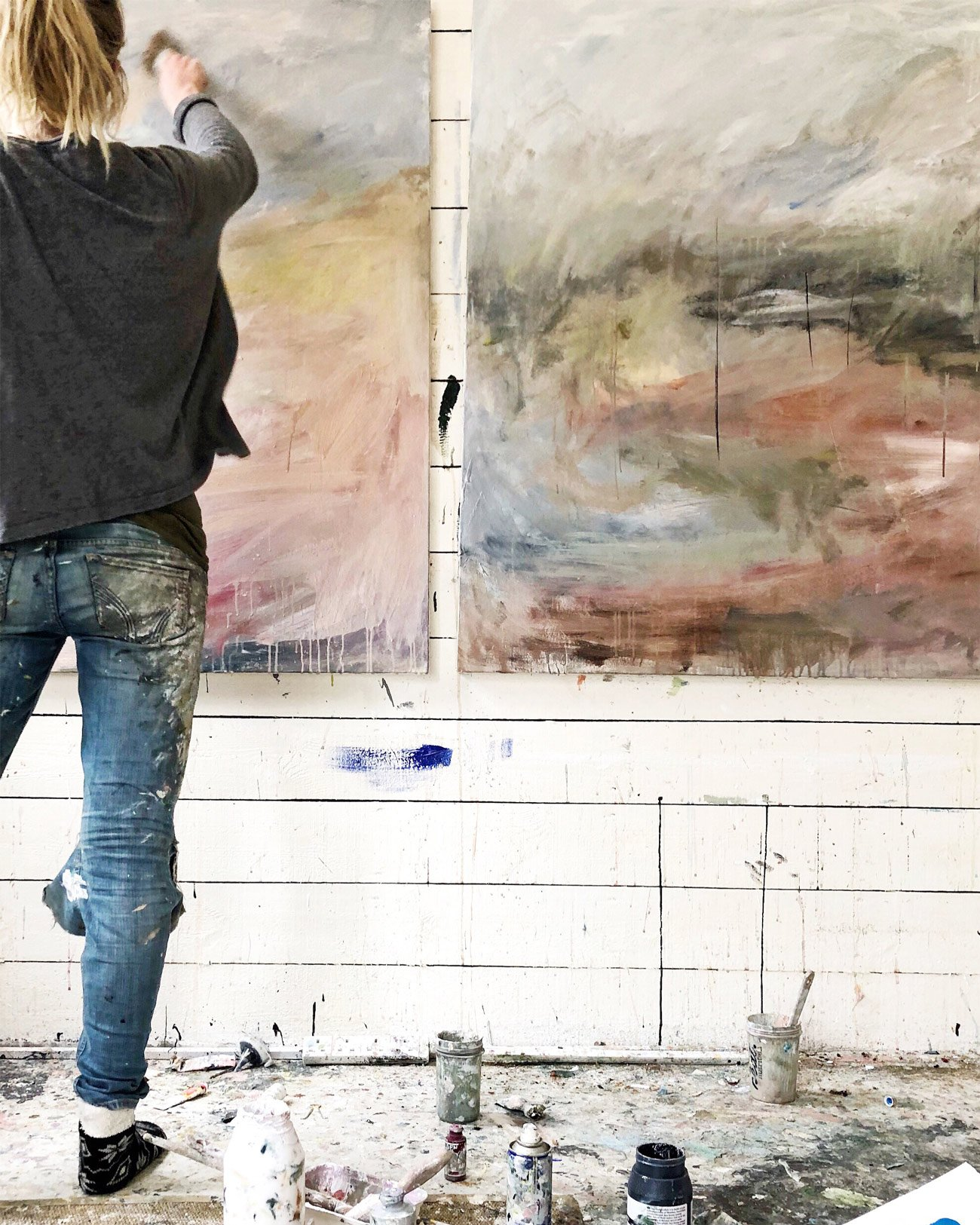 Bethany Holmes - painting in her studio