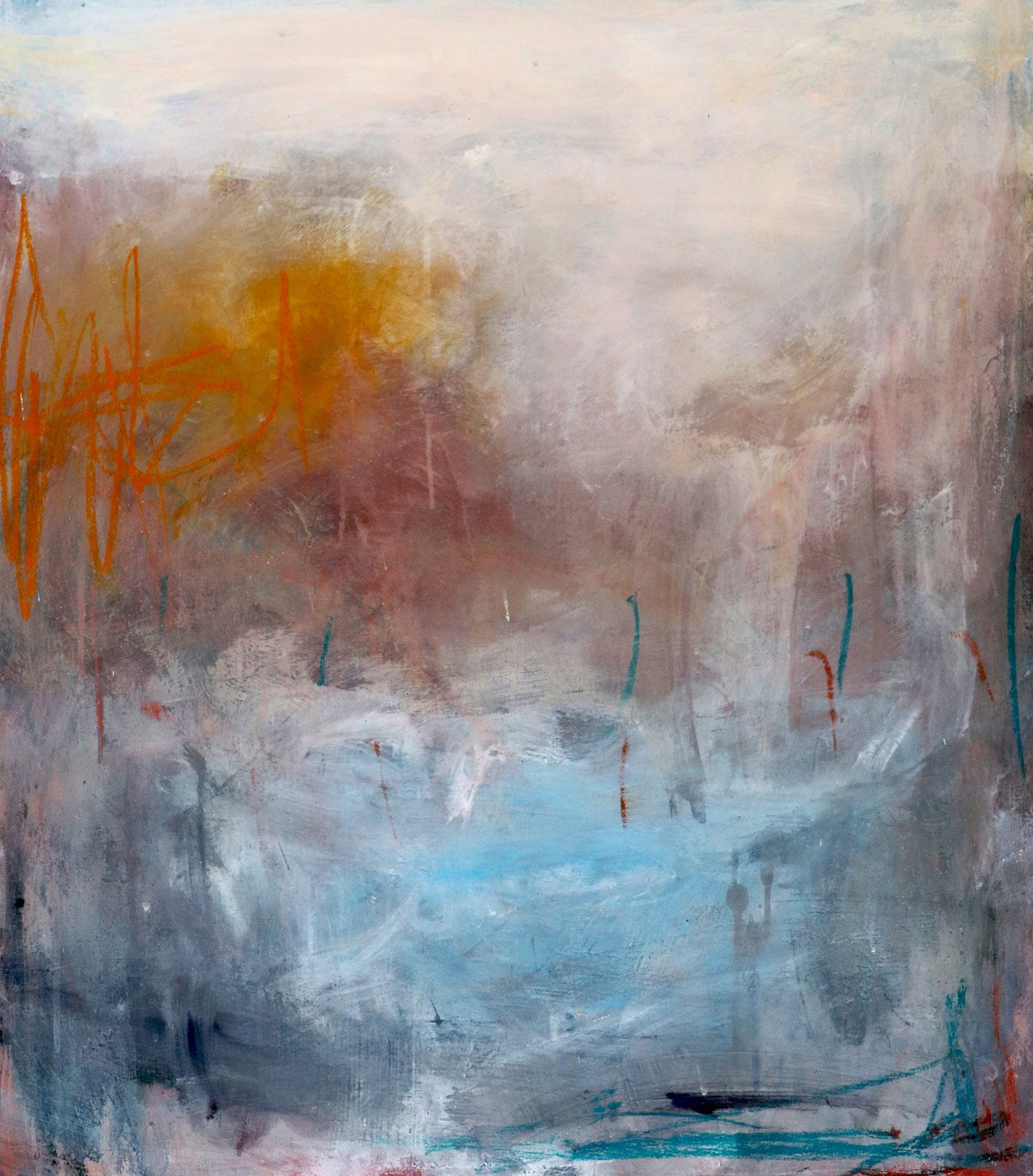 Bethany Holmes, The Marshes Acrylic, charcoal and Oil pastel on Canvas 80cm x 70cm