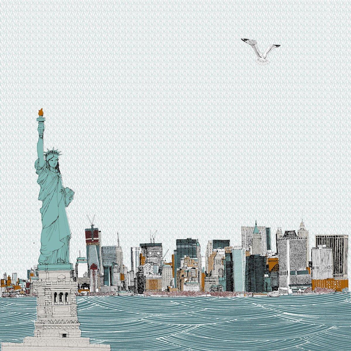 Clare Halifax - Hey Lady Liberty, 7 colour screen print. 35 x 35cm