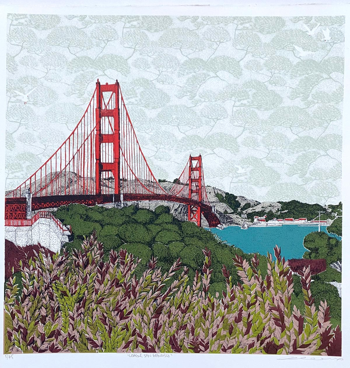Clare Halifax - Leafing San Francisco, 8 colour screen print. 35 x 35cm