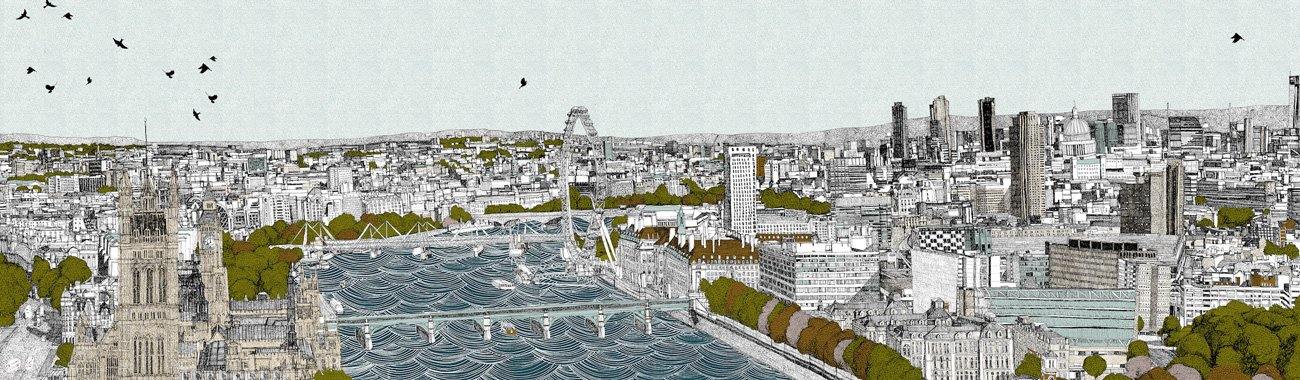 Clare Halifax - Look it's London, 6 colour screen print. 100 x 38cm