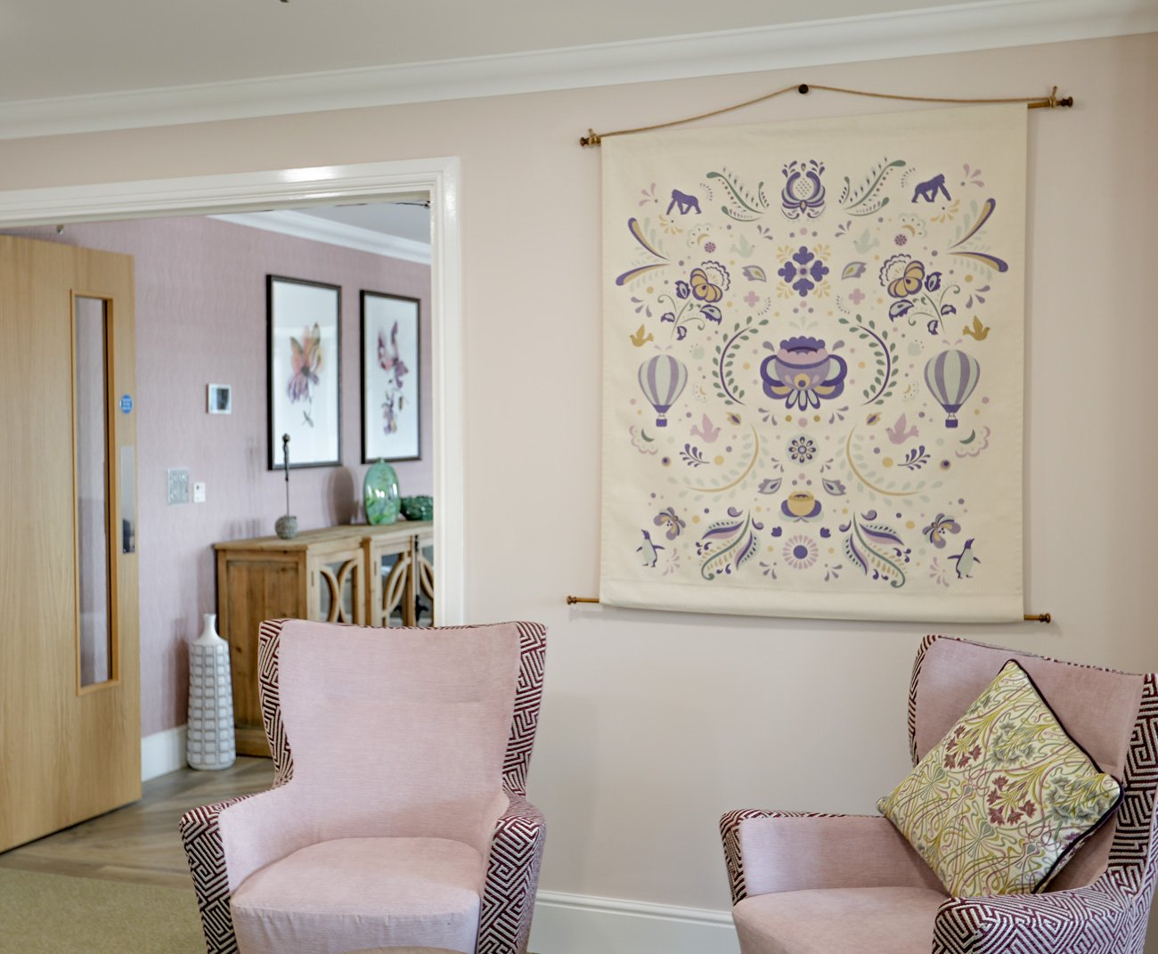Badminton Place Care Home lounge - wall hanging