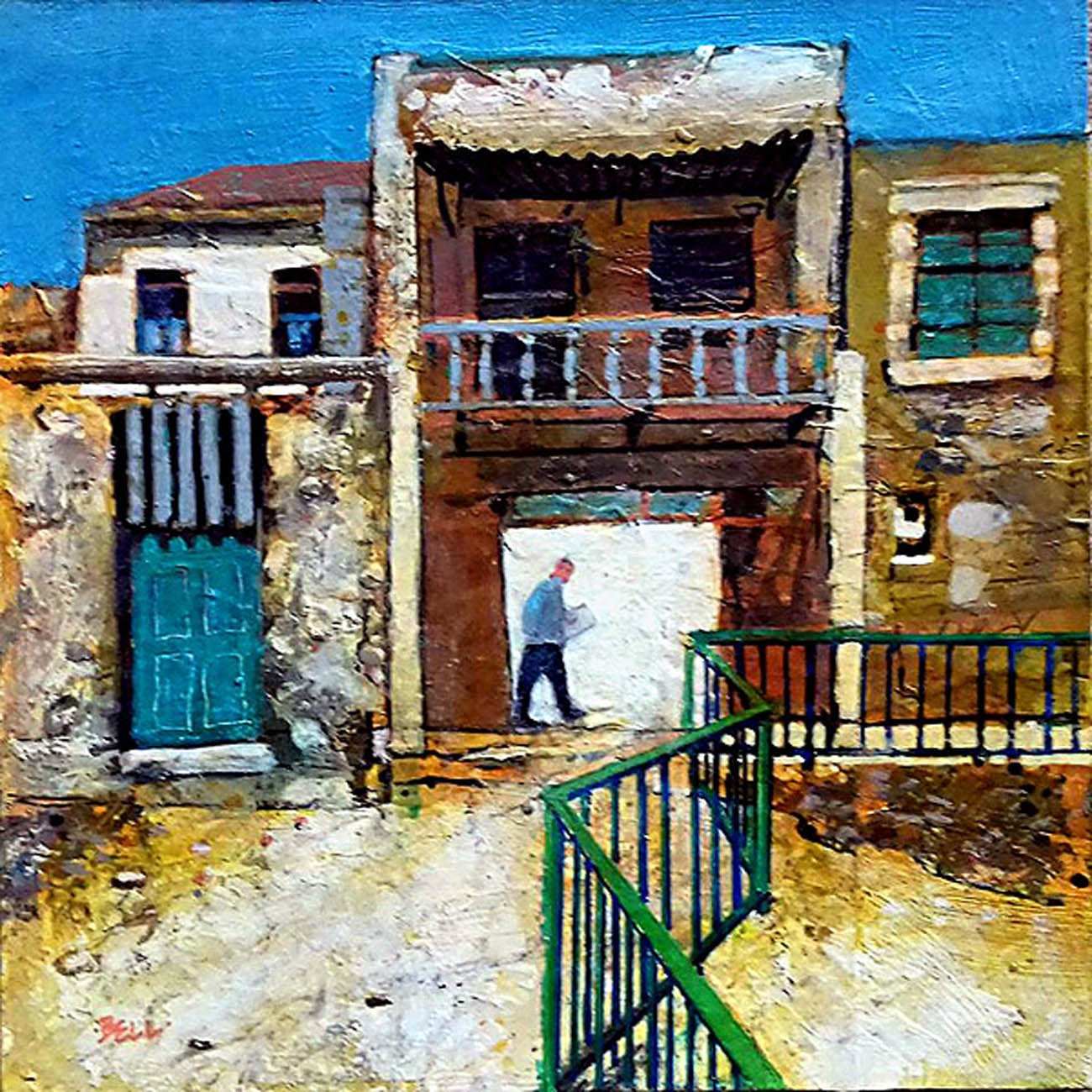 Harry Bell - Old Buildings, Crete. Mixed media on board, 12 x 12 in.