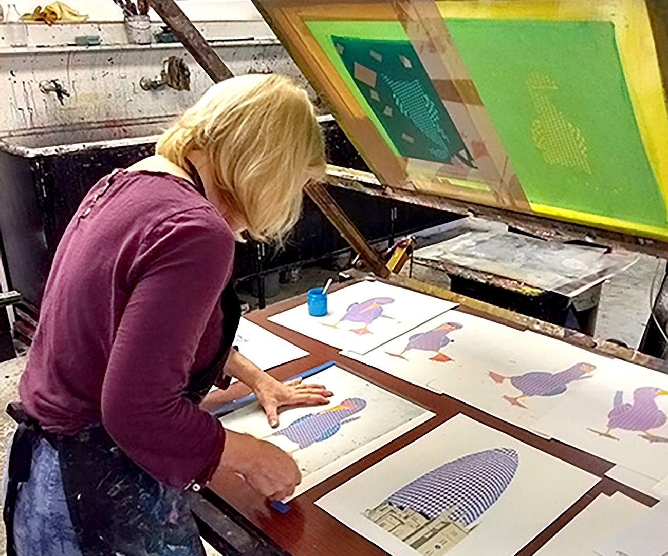 Liz printing at Print Club London